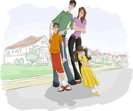 Family. A happy cartoon family with kids on suburb street Royalty Free Stock Image