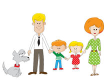 Family. Happy family mother father son daughter dog Royalty Free Stock Image