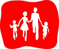 Family. White silhouettes of the boy, the woman, the man and the girl on a red background Royalty Free Stock Photo