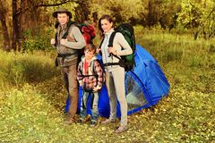 Family. Happy family having a rest outdoor in tent Royalty Free Stock Photos