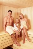 Family. Happy family in the sauna Royalty Free Stock Images