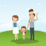 Family. The happy family walks on the nature. The family keeps for hands. The father bears the son on shoulders Royalty Free Stock Image