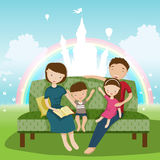 Family. The family reads a fairytale.Family illustration Stock Photo