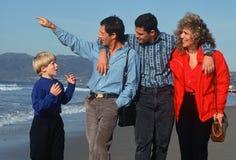 Family. Of four walking on the beach, Santa Monica, California Stock Photos