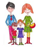 The family. Artistic work. Watercolours on paper Stock Photos