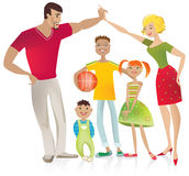 Family. Vector illustration of a family, parents formed shape of house with their hands Royalty Free Stock Image