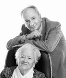 Family. Black and white portrait of senior men with old women on white background Royalty Free Stock Images