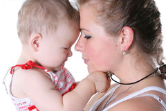 Family. Loving young mother with a small daughter Stock Photos
