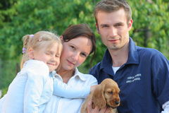 Family. Happy Family together with small dog Stock Images