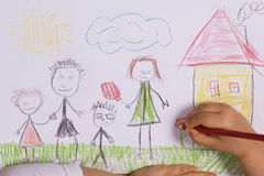 Family. Little girl drawing a happy family stock illustration