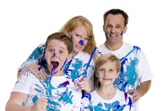 Family. A family group of four, parents and boys. Growing up, childhood, parenting Stock Photo