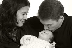Family. A young couple with a newborn girl. Family, love, caring Royalty Free Stock Photo