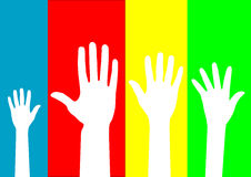Family. Four hands on blue, red, yellow and green blackgrounds Stock Photography