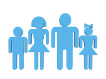 Family in 3d variation. Logo - Blue 3d family on white background Royalty Free Stock Photography