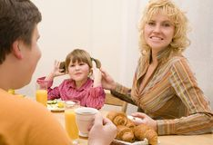 Family. Happy family have a breakfast at the table Stock Photography