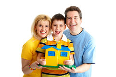 Family. Happy family. Father, mother and boy. Over white background Royalty Free Stock Photos