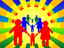 Family. Background the poster - family on a background of the sun in a vector Stock Photo