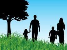 Family. Illustration of family, grass, tree, sky Stock Image