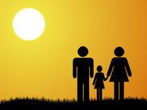 Family. Sunshine illustration with family in front Royalty Free Stock Photos