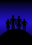 Family. Mother father with sons and daughter holding hand togethere Stock Images