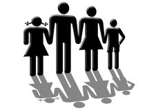 Family. Mother father with sons and daughter holding hand together Royalty Free Stock Photos