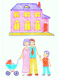 The family. Family and home. Free-hand drawing stock illustration