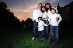 Family. Happy family with children outdoors Stock Photos