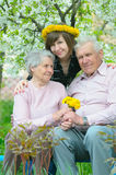 Family. Grandfather, grandmother, grandparents on nature Stock Images