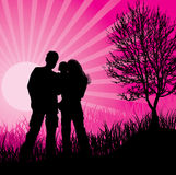 Family. Man, woman and child on pink background Stock Photography
