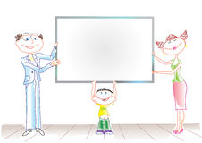 Family. Happy family with board for text Stock Image