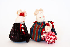 Family. Toy rabbit family. Original japanese design Stock Photo