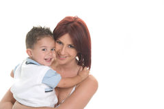 Family. Beautiful mother holding her son smiling at the camera Stock Image