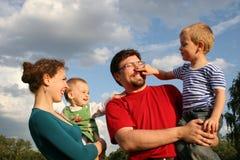 Family. And sundown sky royalty free stock photo