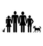 Family. And pets icons on white background Stock Photo
