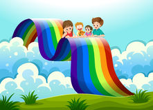 A family above the rainbow Royalty Free Stock Photos
