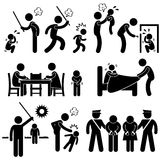 Family Abuse Children Pictograms. A set of pictograms representing children being abused by father and family Royalty Free Stock Image