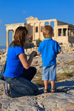 Family in Acropolis, Athens Royalty Free Stock Images