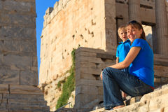 Family in Acropolis, Athens Stock Images