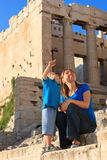 Family in Acropolis, Athens, Greece Royalty Free Stock Images