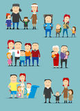 Family activities cartoon characters set Stock Photo