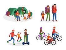 Family activities flat set. Joyful cartoon parents with children travelling, riding bike scateboard, going camping with tents vector illustration set. Mother royalty free illustration