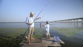 Family activities, happy father with fishing rod and joyful son rejoices caught fish during summer weekend at pier on stock video footage