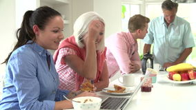 Family With Adult Children Having Breakfast Together stock video footage