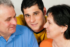 Family with adult son royalty free stock images