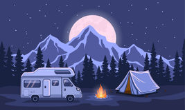 Family Adventure Camping  Night Evening Scene. Royalty Free Stock Photos