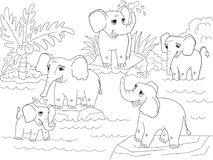 Family of African elephants coloring book for children cartoon vector illustration. Black and white Stock Photos