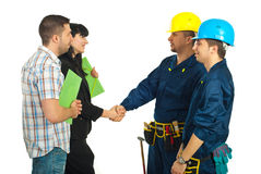 Family agreement with workers team Royalty Free Stock Photo