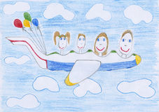 Family on airplane Stock Photography