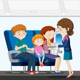 A family on airplane vector illustration