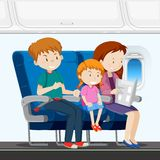 Family on the airplane stock illustration